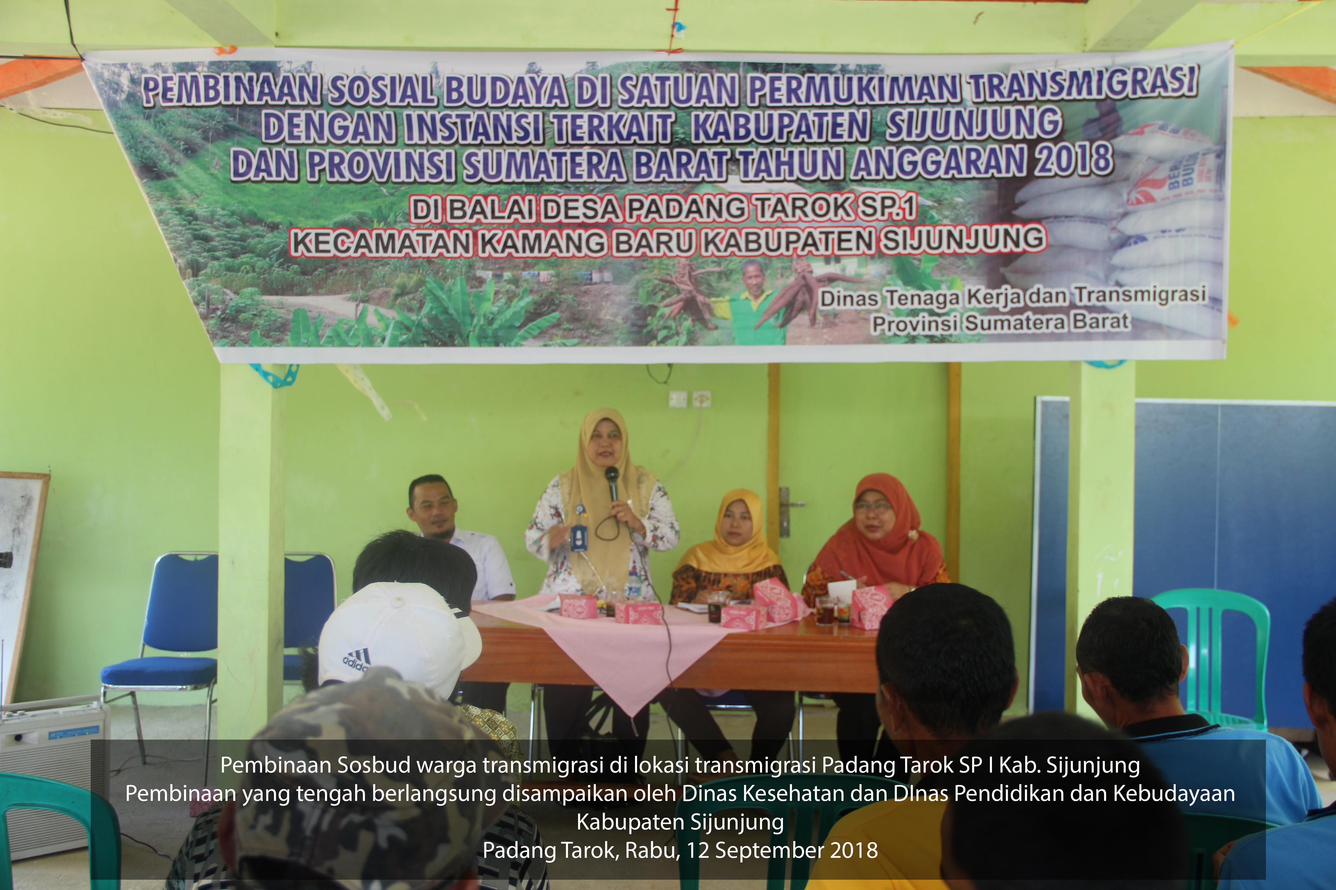 Pembinaan Sosbu warga transmigrasi di Padang Tarok SPI September 2018