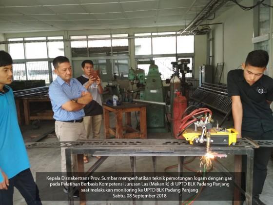 Monitoring pelaksanaan Pelatihan Berbasis Kompetensi di UPTD BLK Padang Panjang September 2018
