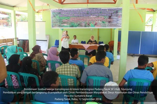 Pembinaan Sosbud warga transmigrasi di Padang Tarok SPI September 2018